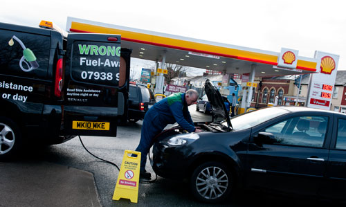 Draining a petrol tank in Manchester